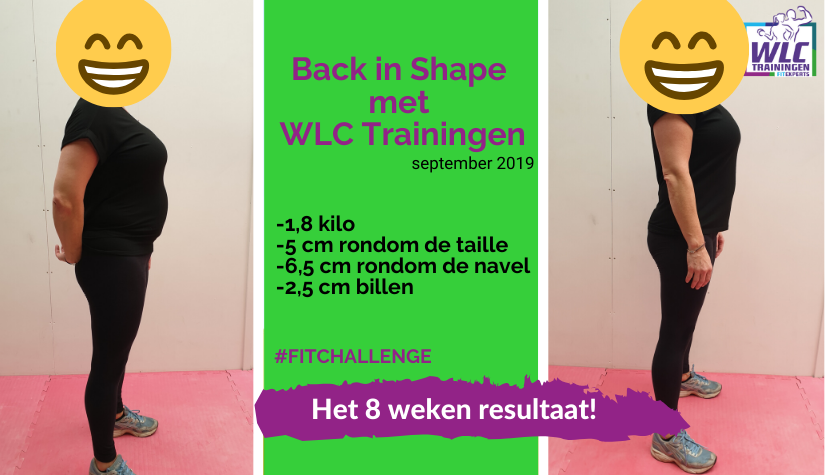 Resultaat Fit Challenge Back in Shape programma van wlc trainingen